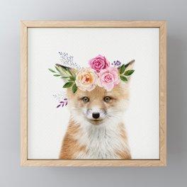 Baby Fox with Flower Crown Framed Mini Art Print
