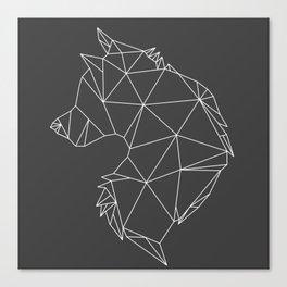 Geometric Wolf (White on Grey) Canvas Print