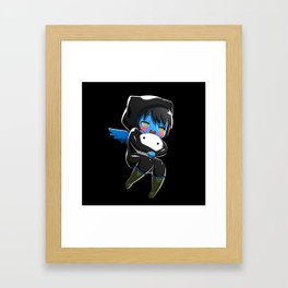 Fuzzy Chibi Luc (Expression 1) w/ Black Background Framed Art Print