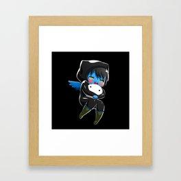 Fuzzy Chibi Luc (Expression 1) w/ Black Background Framed Art Print