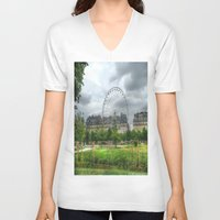 ferris wheel V-neck T-shirts featuring Ferris Wheel by Christine Workman