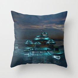 Futuristic Sea City Throw Pillow