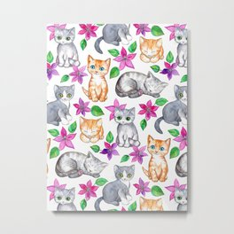 Kittens and Clematis - white Metal Print