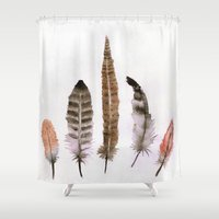 feathers Shower Curtains featuring Feathers by emegi