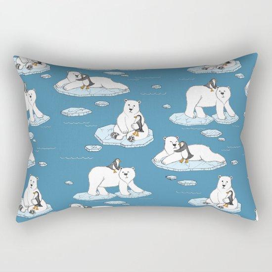 Polar Bear Loves Penguin Rectangular Pillow