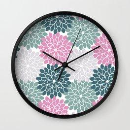 Petal in Rose, Cyan and Milky Grey Wall Clock