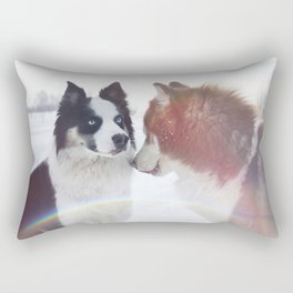 Husky dogs on winter landscape Rectangular Pillow