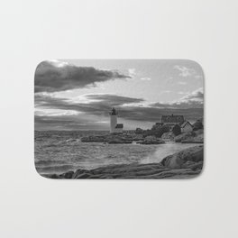 Annisquam Lighthouse Black and white Bath Mat