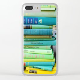 Rainbow Stacks of Vintage Books Clear iPhone Case