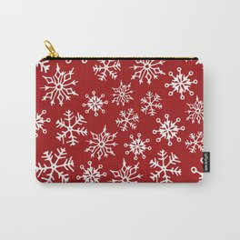 Snowflakes Pattern (Red) Carry-All Pouch