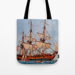 Revolutionary Painting of the Frigate Confederacy Tote Bag