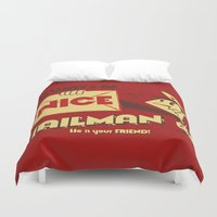 propaganda Duvet Covers featuring Be Nice to the Mailman by Roberlan Borges