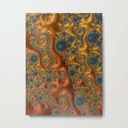 Copper Leaves-Teal  Metal Print