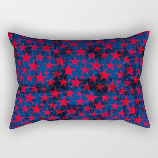 Red stars on grunge textured blue background Rectangular Pillow
