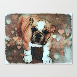 English Bulldog Puppy with Hearts Canvas Print