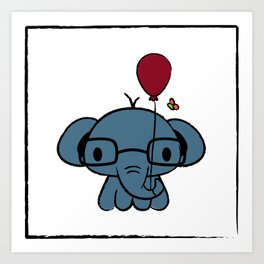 cute elephant with glasses holding a balloon Art Print