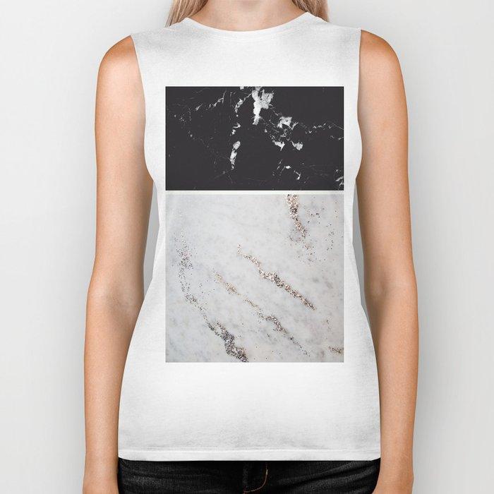 Black Marble & White Glitter Marble #1 #decor #art #society6 Biker Tank