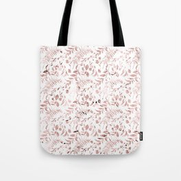 Elegant modern faux rose gold tropical leaves floral Tote Bag