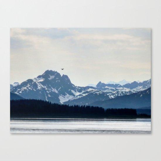 Bird Flying over Alaska Canvas Print