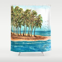 Private Island Painting Shower Curtain