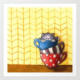 Cups and kitten Art Print