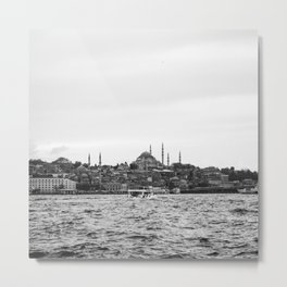 Turkish Landscape | Istanbul Turkey Landscape Photograph High Contrast Black and White City Skyline Metal Print