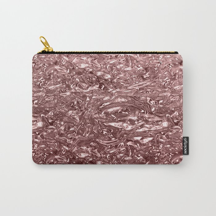 Rose Gold Pink Liquid Metallic Chrome Metal Carry-All Pouch
