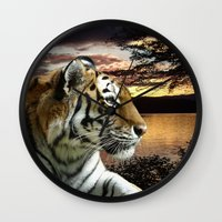 novelty Wall Clocks featuring Sunset Tiger by Moody Muse