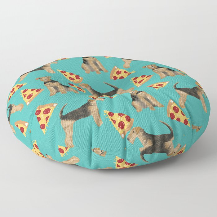 Airedale Terrier pizza pattern dog breed cute custom dog pattern gifts for dog lovers Floor Pillow