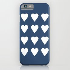16 Hearts White on Navy iPhone 6s Slim Case