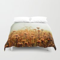 autumn Duvet Covers featuring Daybreak in the Meadow by Olivia Joy StClaire