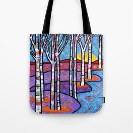 Yellow Moon on the Rise Magical Aspen Forest Tote Bag