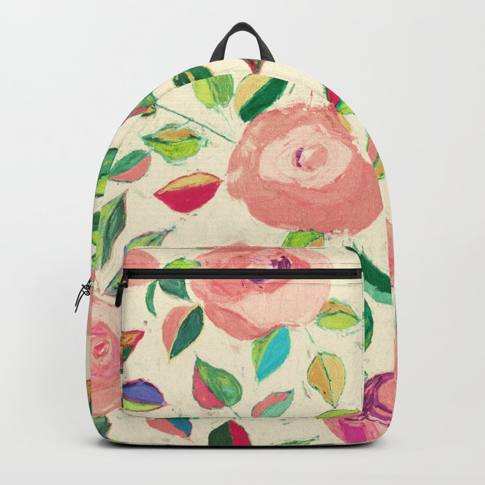 Pastel Roses in Blush Pink and Cream  Backpack