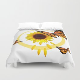 ORANGE MONARCH BUTTERFLIES & SUNFLOWER  PATTERN Duvet Cover