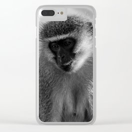 Contemplative Vervet Monkey Clear iPhone Case