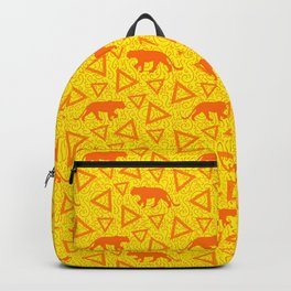 Wild African walking orange lions and abstract triangle shapes. Stylish whimsical ethnic bright sunny yellow retro vintage geometric animal nature pattern. Backpack