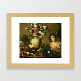 Bernardo Strozzi A STILL LIFE OF FLOWERS, FRUIT, VEGETABLES AND SEAFOOD ON A LEDGE, Framed Art Print