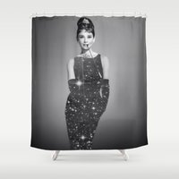 audrey hepburn Shower Curtains featuring Audrey Hepburn by Laure.B