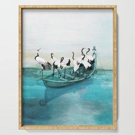 White Cranes Serving Tray