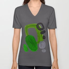 Mid Century Vintage 70's Design Abstract Minimalist Colorful Pop Art Olive Green Dark Green Grey Unisex V-Ausschnitt