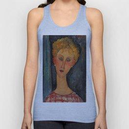 """Amedeo Modigliani """"A Blonde Wearing Earrings"""" Unisex Tank Top"""