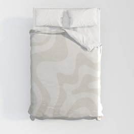 Liquid Swirl Abstract Pattern in Nearly White and Pale Stone Duvet Cover