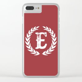 Rustic Red Monogram: Letter E Clear iPhone Case
