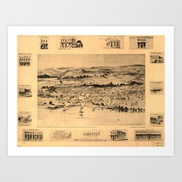 Vintage Bird's Eye Map Illustration - Lakeport, Lake County, California (1888) Art Print