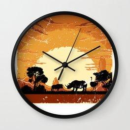 Rhino Sunset Wall Clock