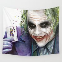 joker Wall Tapestries featuring Joker  by Olechka