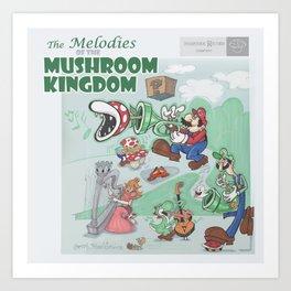 Super Mario Melodies of the Mushroom Kingdom Record Cover Design Art Print