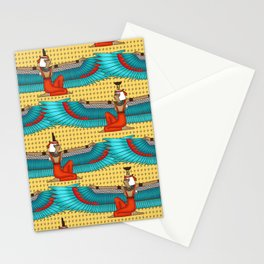 Isis and Nephtys - Turquoise and yellow Stationery Cards