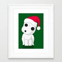kodama Framed Art Prints featuring Christmas Kodama by pkarnold + The Cult Print Shop