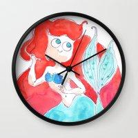 ariel Wall Clocks featuring Ariel by Elise Lesueur